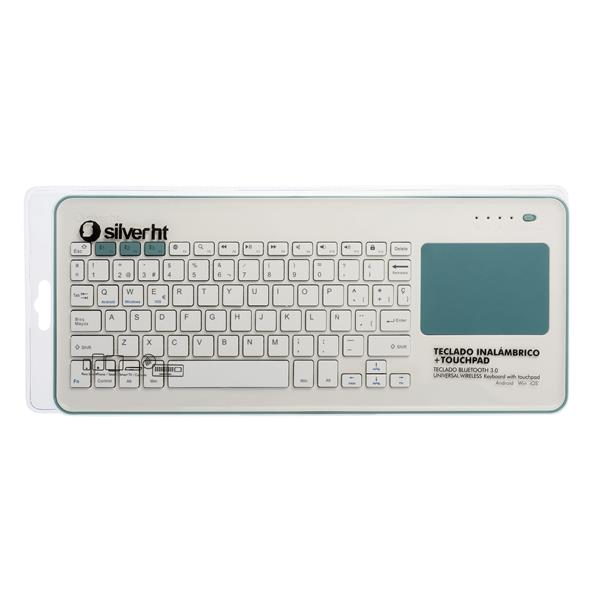 TECLADO WIRELESS TOUCHPAD BLANCO/AZUL SILVER HT