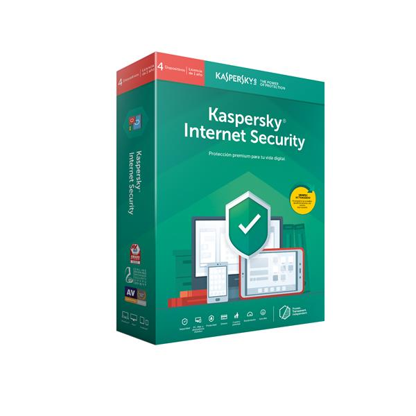 Antivirus Kaspersky Internet Security 2020 Español 4Equipos Licencia 1año PCBox