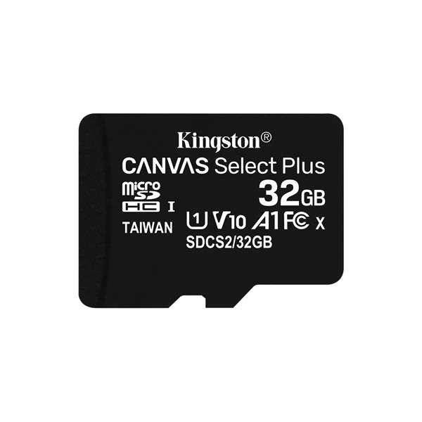 MEMORIA 32 GB MICRO SDHC KINGSTON UHS-I CANVAS SELECT PLUS CLASE 10 + ADAPTADOR SD