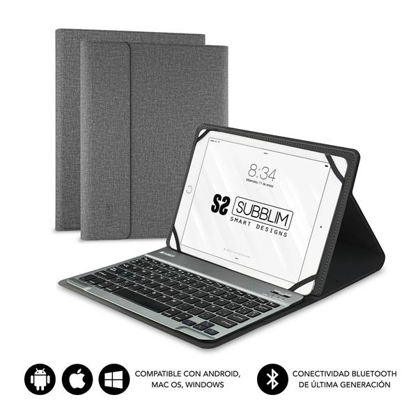 FUNDA Y TECLADO TABLET 10.1´´ SUBBLIM BLUETOOTH GREY