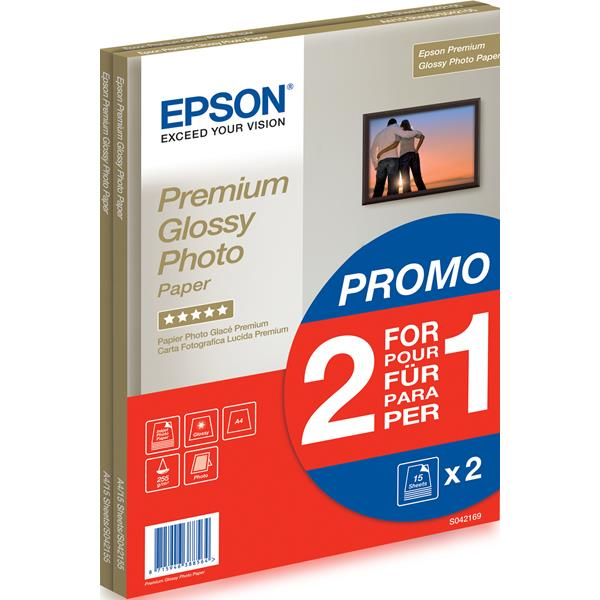 PAPEL EPSON GLOSSY A4 255 GR. 15H X 2