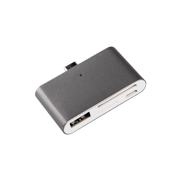 ADPATADOR SILVER HT TYPE C 2 EN 1 DARK GREY (USB/SD/TC)