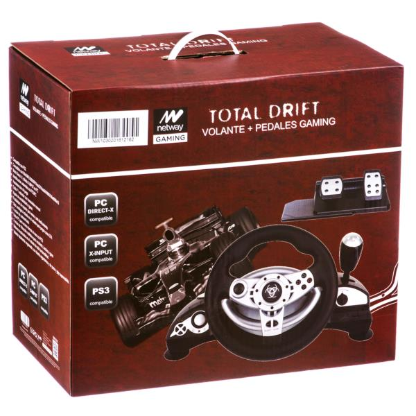 VOLANTE+PEDALES NETWAY GAMING TOTAL DRIFT PC/XBOX/PS3