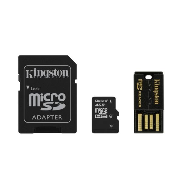 MEMORIA 4 GB MICRO SDHC KINGSTON CLASE 4 MULTI KIT