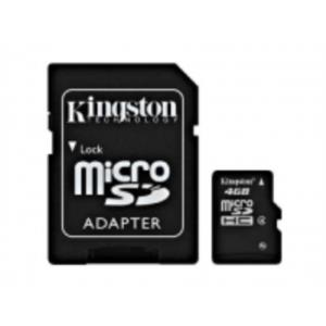 MEMORIA 4 GB MICRO SDHC KINGSTON CLASE 4 + ADAPTADOR SD