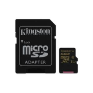MEMORIA 64 GB MICRO SDHC KINGSTON CLASE 10 UHS-I + ADAPTADOR SD