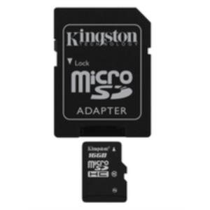 MEMORIA 16 GB MICRO SDHC KINGSTON CLASE 10 + ADAPTADOR SD