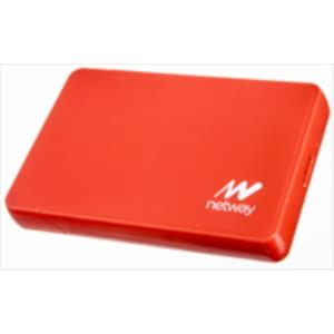 "CAJA EXTERNA SHIELD PLASTICO HDD 2.5"" NETWAY SATA USB 3.0 SCREWLESS ROJA"