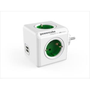 ADAPTADOR Y ENCHUFE MULTIPLE VERDE 4 TOMAS 120W + 2 TOMAS USB