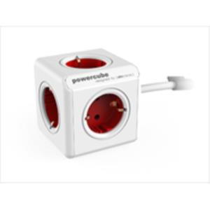 ADAPTADOR Y ENCHUFE MULTIPLE ROJO 4 TOMAS ALARGO 1,5M