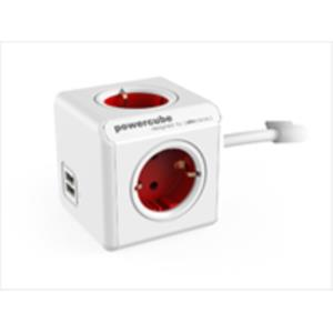 ADAPTADOR Y ENCHUFE MULTIPLE ROJO 4 TOMAS + 2 USB ALARGO 1,5M